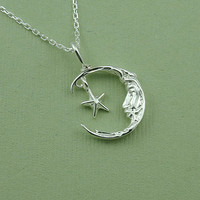 Celestial Moon and Stars Necklace , 925 sterling silver , moon pendant charm , gift