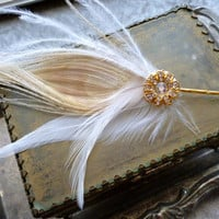 15% Off Gold Sun Flower Hair Pin Art Deco Rhinestone Ivory Peacock Feather White Ostrich Fascinator Pin