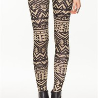A'GACI Stripe Tribal Zig Zag Legging - BOTTOMS