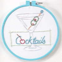 Hand embroidered fun wall hanging - Retro style cocktail sign