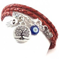 Leather Wrap Bracelet with Protection Charms | charmed design
