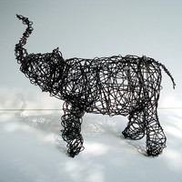 Baby Black Elephant  Unique Wire Animal Sculpture by wireanimals