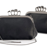Women Punk Skull & Jewelled Knuckle Ring Clutch. Party, Evening Bag