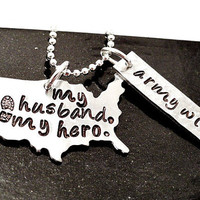 Personalized Hero Necklace - Army Wife Necklace - Solider Necklace - Hand Stamped - Army - Navy - Military