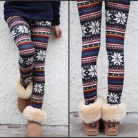 New Xmax Gift Women Knitted Colorful Crystal Pattern Leggings Tights Pants