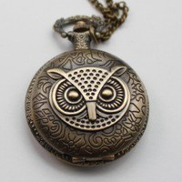 Owl pocket watch locket pendant necklace made of antique by J2hike