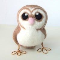 Needlefelted Owl Barn Owl in soft Browns With by feltmeupdesigns