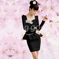 Noble Elegant Lady Shining Diamond Bow Puff Sleeve Short Party Dress Free Shipping!  - US$32.97