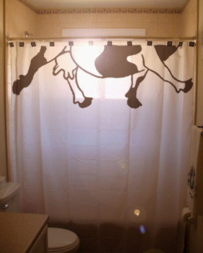 Cow teats shower curtain half a cow from for Funny shower curtains