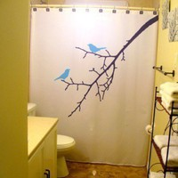 Blue Birds Shower Curtain Tree Branch Nature BlueBird Lovebirds in a tree leaves blossoms Bird Can Be Any Color