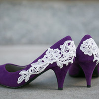 Purple Wedding Shoes/ Purple Heels with Ivory Lace. US Size 9