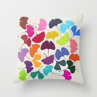 Ginkgo_Multicolor Throw Pillow by Garima Dhawan | Society6