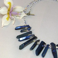 OOAK Titanium Electroplated Quartz Crystal and Swarovski Necklace 18""