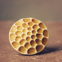 sani a mustard honeycomb cab ring by RootsandFeathers on Etsy
