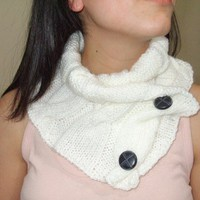Hand knit Neck Warmer / Cowl in white color by gloveshop on Etsy