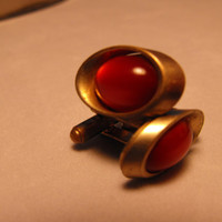 Atomic Red Cufflinks by GiltyGirlVintage on Etsy