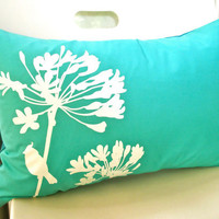 Mint Green Print Cardinal on Agapanthus Rectangle Pillow