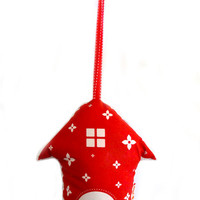 Red Print Partridge Birdhouse HOLIDAY ORNAMENT