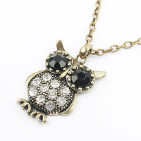 Cute Shinny Rhinestone Owl Pendant Long Chain Necklace wholesale from yiwu fashion jewelry wholesale market.