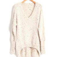 V-neck Mohair Jumpers in Fleck Yarn