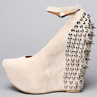 The Spike Aubrey Shoe in Nude Suede and Silver