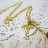 Dainty Asian Fan Necklace - Oriental Fan - Cats Eye Beads - Glass Beads - Gold Plated Chain Necklace