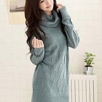 New Arrival Beautiful High Neck Ladies Sweaters Green : Wholesaleclothing4u.com