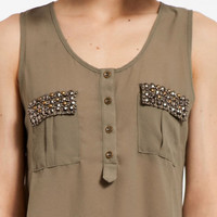 Jewel Tab Tank Top $36