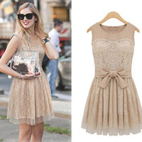 Fashion New Womens Elegant Lace Sleeveless Chiffon Dress with Bowknot belt