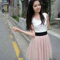 New Arrival Slim Ladies Round Neck Dresses Pink : Wholesaleclothing4u.com