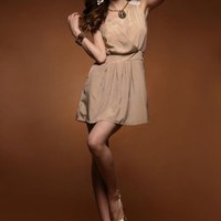 Graceful V Neck Glossy Cotton Apricot Sundress : Wholesaleclothing4u.com