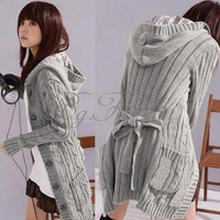 New Style Womens Hooded Winter Cardigan Sweater Knitted TOP Trench Coat Knitwear