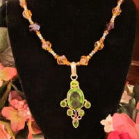 Vibrant Fall Colors in this Multi-colored Crystal Necklace with Peridot Colored Glass Pendant
