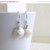 15% Off SALE Wedding Jewelry Bridal Pearl Earrings Coin Pearl Wire Wrapped Sterling Silver Dangle Earrings - GemE5B