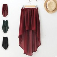 2012 Trendy Anomalous Hem Asymmetrical Skirt Semi Sheer Chiffon high-low Skirt