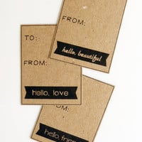 Cyber Monday Hello - Brown Kraft Paper Set of 12 Gift Tags - Hello, Beautiful - Hello, Love - Hello, Friend
