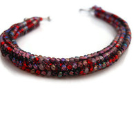 Peyote Stitch Very Berry Purple Red Czech Bracelet