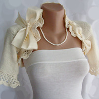 Bridal Shrug Knit Wedding Bolero Jacket by vara on Etsy