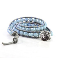 Denim Blue Wrap Bracelet Gray Leather Wrap Winter Fashion Boho Style Triple Wrap Brass Dusty Blue Bohemian Style Jewelry