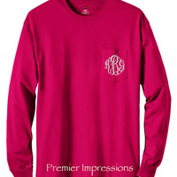 Long Sleeve T-Shirt, Monogrammed Long Sleeve Pocket T-SHIRT with Pocket.  13 COLORS AVAILABLE to choose from with your Initials.