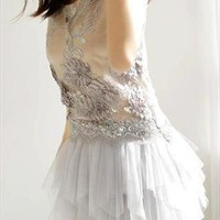 Whimsical Fairy Dress. Sequins Embellished Light Grey Dress from Letsglamup