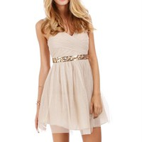 Pre-Order: Lizbeth-Tan/Nude Homecoming Dress