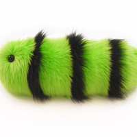 Stuffed Toy Black and Green Caterpillar Fuzzy Snuggle Worm