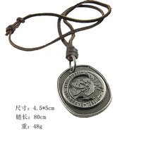 Brown real Leather and alloy pendant adiustable necklace mens necklace  unisex necklace cool necklace B168