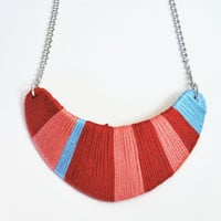 Cyber monday sale. Red and blue bib necklace