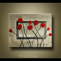 Red Poppy Art Painting Texture by KAG 14 X18 inches by kagstudios