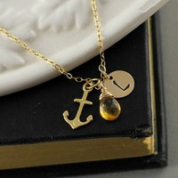 Personalized Anchor Necklace, Initial, Birthstone, Gold Anchor, Gift