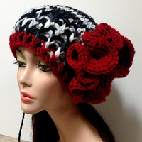Black, White and Red Womens Crochet Hat