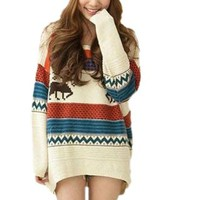 Happy Fashionable Deals! - Huafeng Fawn Colored Stripe Loose Xmas Sweaters Womens