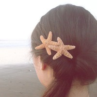 Buy One Get One Free Sale - Double Starfish Barrette - Beach Boho Cute Adorable Elegant Romantic Whimsical Dreamy Sea Stars Mermaid Costume